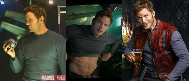 These are some shots showing the undershirt.  Unfortunately, the lighting isn't great in two of them, but you get the idea.  Stop staring at Chris Pratt's abs.
