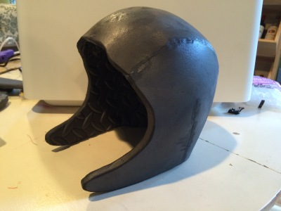 Here is the base helmet before accent pieces and paint.